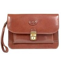 Robe Di Firenze Men's Brown Vegetable Tanned Leather Clutch