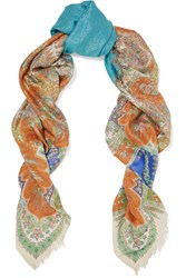 Etro Paisley Print Metallic Modal And Silk Blend Scarf Blue