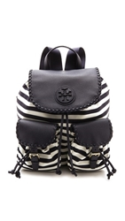 Tory Burch Marion Printed Nylon Backpack Awning Stripe