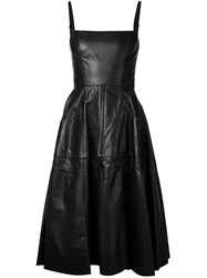 Vera Wang Leather Flared Dress Black