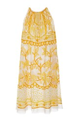Naeem Khan Sleeveless Contrasting Embroidered Mini Dress Yellow