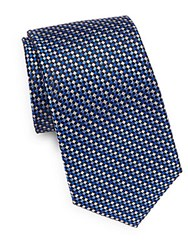 Saks Fifth Avenue Check Silk Tie Blue