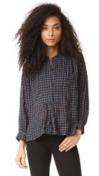 Nili Lotan Greenwich Blouse Black Check