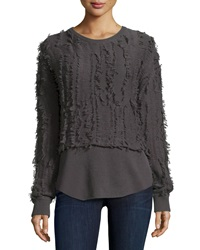 Inhabit Long Sleeve Seven Gauge Pullover W Fringe Smoke