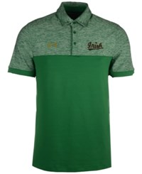 Under Armour Men's Notre Dame Fighting Irish Podium Polo Shirt Green Heather