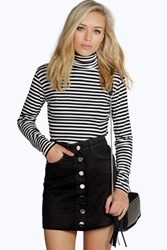 Boohoo Black Denim Button Through Mini Skirt Black