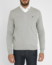 Light Grey Hackett Logo Pima Cotton V Neck Sweater