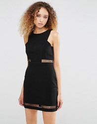 Daisy Street Dress With Mesh Inserts Black