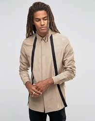 Asos Cotton Nylon Shirt With Strapping Stone