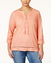 Styleandco. Style And Co. Plus Size Lace Up Three Quarter Sleeve Peasant Top Only At Macy's Peach Zing
