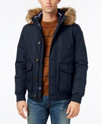 Tommy Hilfiger Men's Hampton Hooded Coat With Faux Fur Trim Midnight