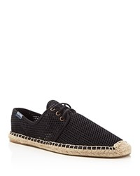 Soludos Derby Mesh Lace Up Espadrille Sneakers Black