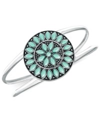 Macy's Manufactured Turquoise Sunburst Bangle Bracelet In Sterling Silver