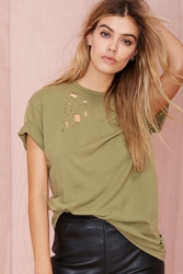 Nasty Gal After Party Vintage Essential Tee Olive