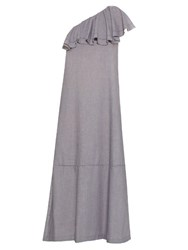 Lisa Marie Fernandez Arden Ruffled One Shoulder Dress Light Grey