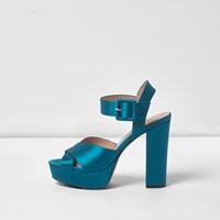 River Island Womens Blue Satin Cross Strap Platform Heels