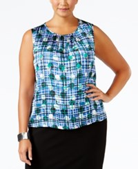 Nine West Plus Size Pleated Printed Shell Emerald Blue