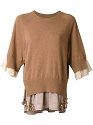 Muveil Three Quarters Sleeve Slit Sweater Brown
