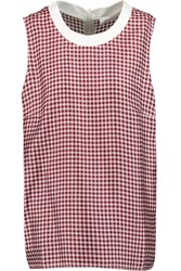 Victoria Beckham Gingham Silk Satin Vest Red