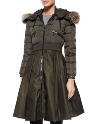 Moncler Sully Full Skirted Fur Trim Puffer Coat Olive Green Size 2 Small
