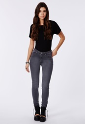 Missguided High Waisted Supersoft Skinny Jeans Grey