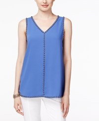 Alfani Embellished V Neck Top Only At Macy's Alf Pery Blue