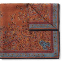Kingsman Drake's Victorian Garden Printed Wool And Silk Blend Pocket Square Brown
