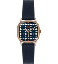 Orla Kiely Ok2054 Iris Leather And Stainless Steel Watch Blue