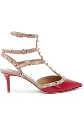 Valentino Studded Patent Leather Pumps Claret