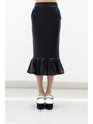 Jamie Wei Huang Nathalie Leather Ruffle Pencil Skirt Black