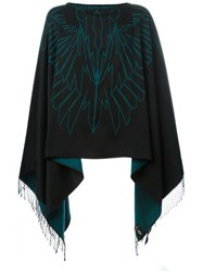Marcelo Burlon County Of Milan Reversible Fringed Cape Black