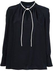 Derek Lam Tie Collar Blouse Black