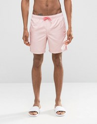 Asos Swim Shorts In Pastel Pink With Neon Drawcord Mid Length Pink