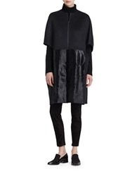Lafayette 148 New York Mackayla Cashmere And Dyed Calf Hair Coat Black