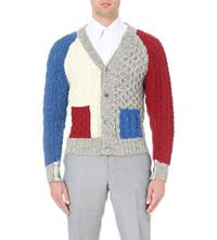 Thom Browne Funmix Cable Knit Merino Wool Cardigan White