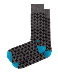 Cross Print Knit Socks Charcoal Black Charcoal Black Jonathan Adler