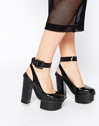 Tba To Be Announced Midnight Platform Ankle Strap Heeled Shoes Blackpatent