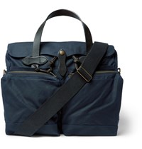 Filson Leather Trimmed Waxed Cotton Canvas Briefcase Navy