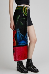 Nasir Mazhar Printed Velvet Long Panel Mini Skirt Black Multi