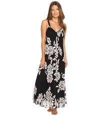 Oscar De La Renta Printed Silky Georgette Long Gown Black Pink Brush Accent Floral
