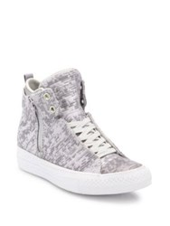 Converse Chuck Taylor Winter Knit High Top Sneakers Mouse Metallic