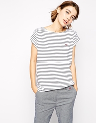 Fred Perry Striped T Shirt White
