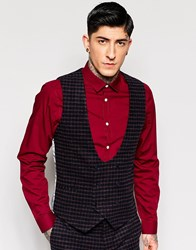 Noose And Monkey Brushed Check Vest With Stretch In Super Skinny Fit Navy