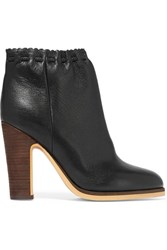 See By Chloe Scalloped Textured Leather Ankle Boots Black