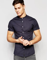Asos Skinny Shirt In Charcoal With Grandad Collar And Short Sleeves Charcoal Grey