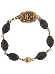 Roman Paul Skull Motif Beaded Bracelet Black