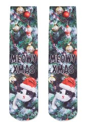 Topshop Meowy Christmas Socks Forest