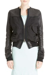 Women's Haider Ackermann Leather And Cotton Bomber Jacket