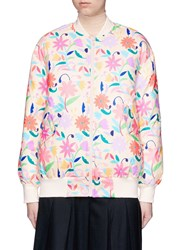 Chictopia Floral Print Down Bomber Jacket Multi Colour