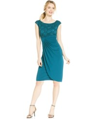 Connected Petite Sequin Lace Faux Wrap Dress Spruce
